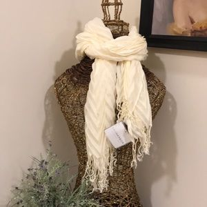 Accessories - Pleated Ivory Fringe Scarf